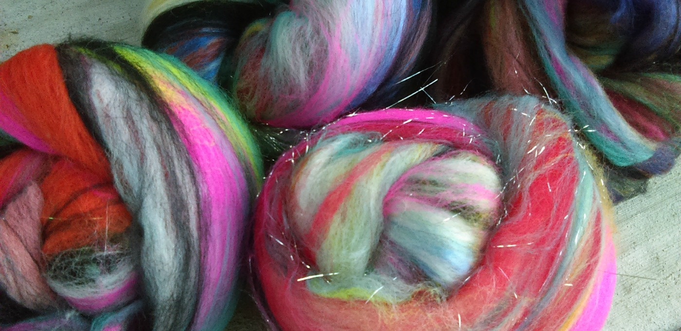 hand carded and dyed fibers